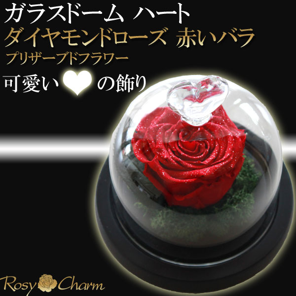 ガラスドーム ダイヤモンドローズ赤い薔薇