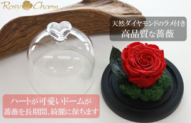 ガラスドーム 赤い薔薇