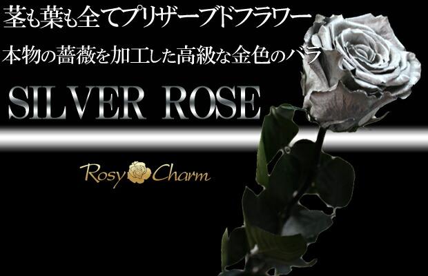 銀色 薔薇 全てプリザーブドフラワー