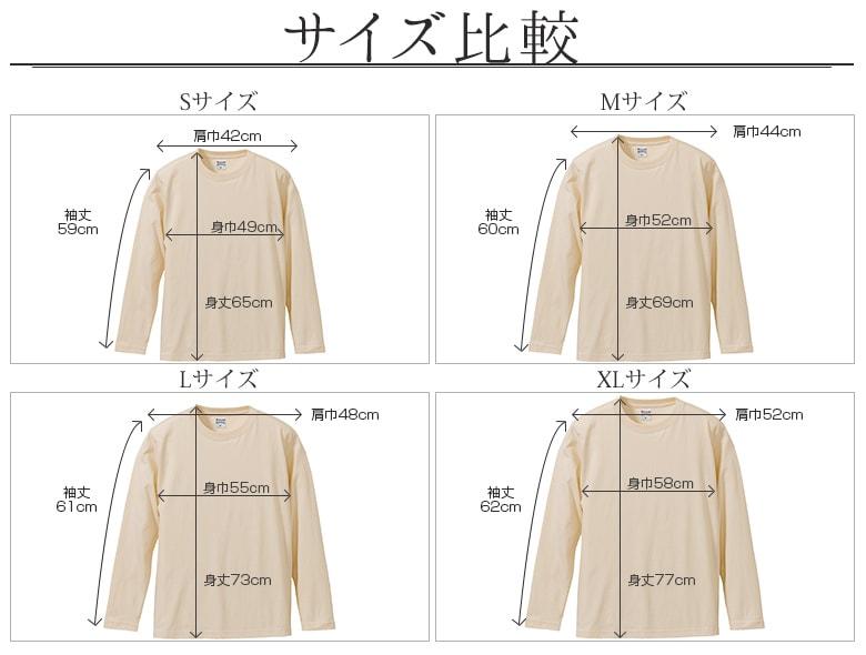 tシャツ メンズ 長袖 無地 サイズ比較