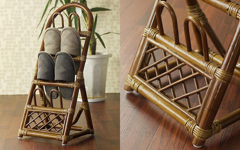 自然素材のあたたかみを感じる籐(ラタン)で作られています。籐の特徴は「軽さ」としなやかな「丈夫さ」。軽いので持ち運びも負担にならず、どなたでもとても扱い易くつくられています。