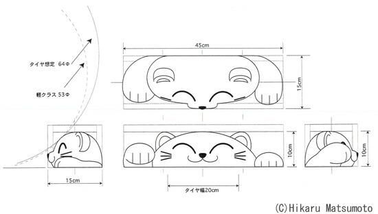 置くだけ車止め・カーストッパー 招き猫デザイン画