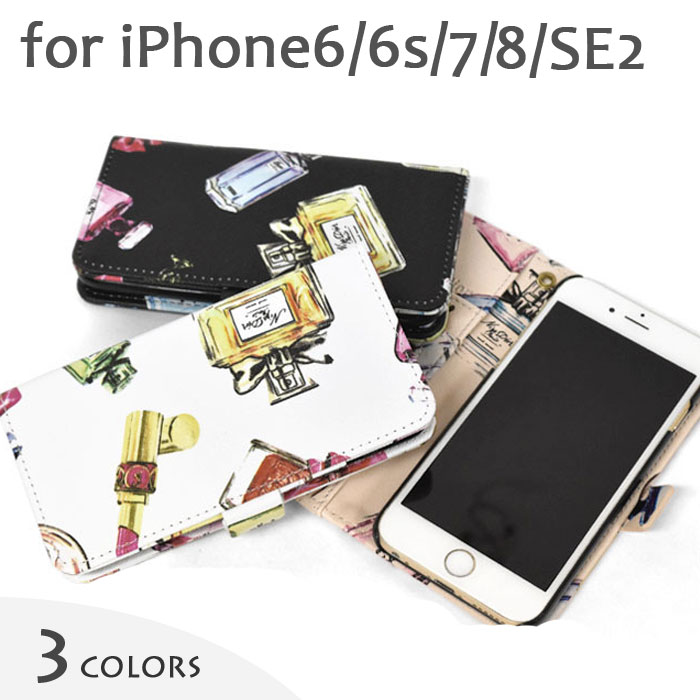 49d6da6261 楽天市場】フェイクレザー コスメ柄 手帳型 iPhoneケース /レディース ...