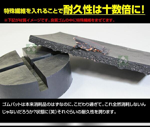 元のゴム良質なゴムにして、さらに特殊繊維を配合で超高耐久ゴムパットに