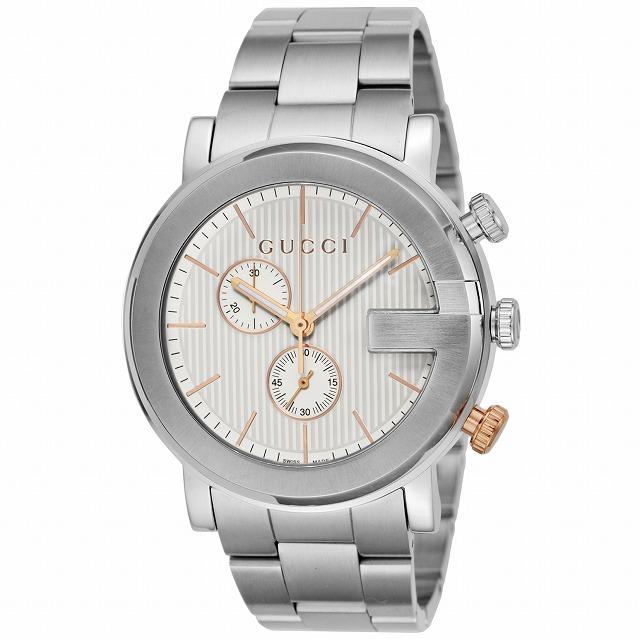 7994ed981773 メンズ GUCCI YA101360 ウォッチ シルバー/ ピンクゴールド 腕時計 Gクロノ グッチ 時計