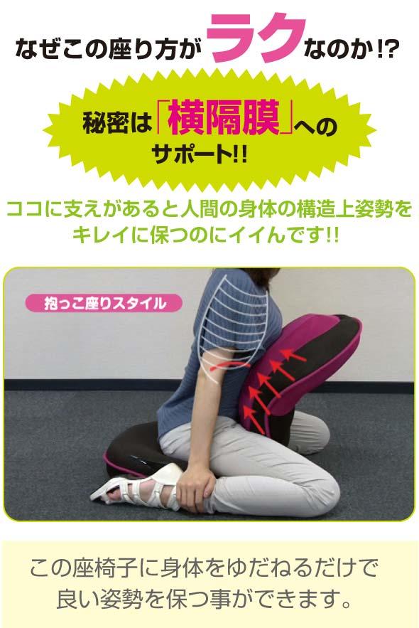 座り方がラクな秘密は横隔膜へのサポート 背筋がGUUUN!! 美姿勢座椅子に女性が身体をゆだねて座っている画像