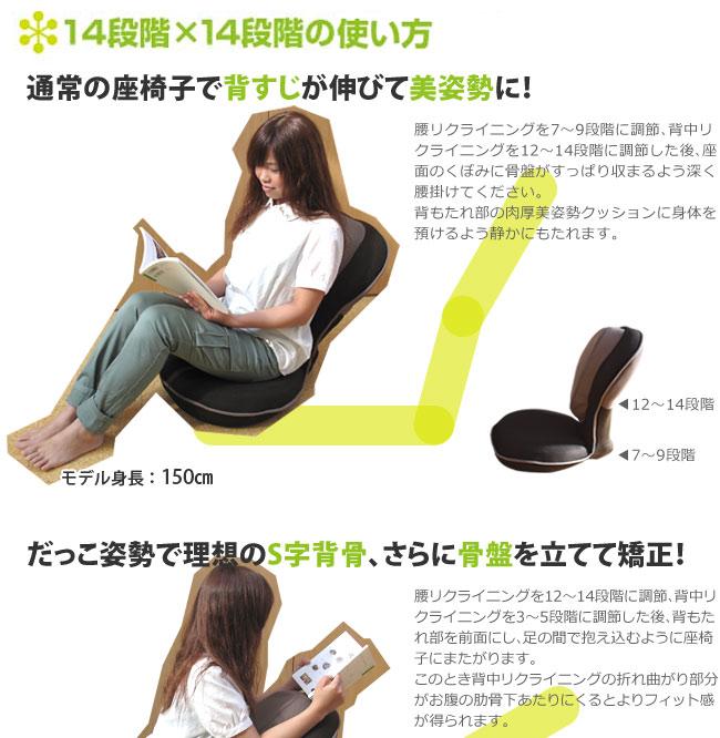 14段階×14段階の使い方  通常の座椅子ですじが伸びて美姿勢に!
