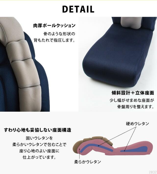 骨盤ポール座椅子 のび〜る 肉厚ポールクッション 傾斜設定 立体座面 座り心地も妥協しない座面構造