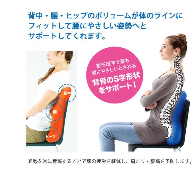 背中・腰・ヒップのボリュームが体のラインにフィットして腰にやさしい姿勢へとサポートしてくれます。整形医学で最も腰にやさしいとされる背骨のS字形状をサポート。姿勢を常に意識することで腰の負担を軽減し、肩こり・腰痛を予防します。