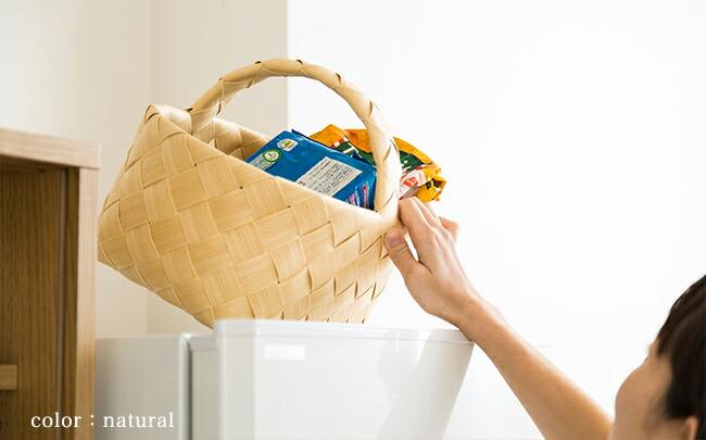 生活感のでないデザインで、冷蔵庫上に置ける収納用のかご・バスケットを教えて。