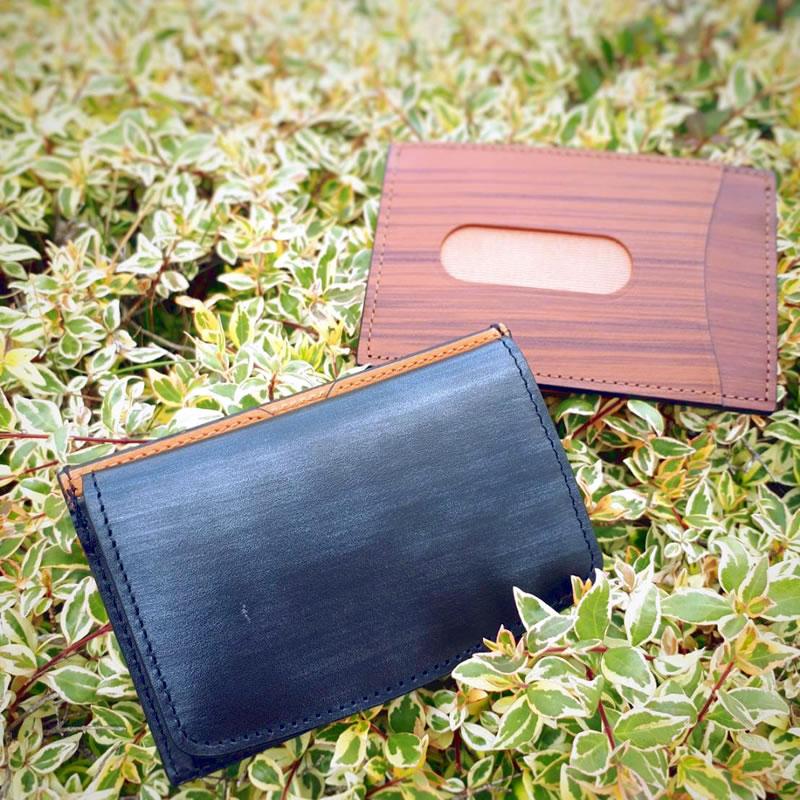木目調レザーコインケース+カードケース