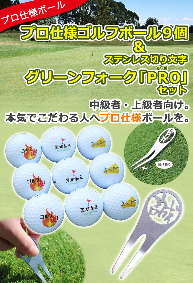 【プロ仕様】名入れゴルフボール9個&ステンレス切り文字グリーンフォーク「PRO」