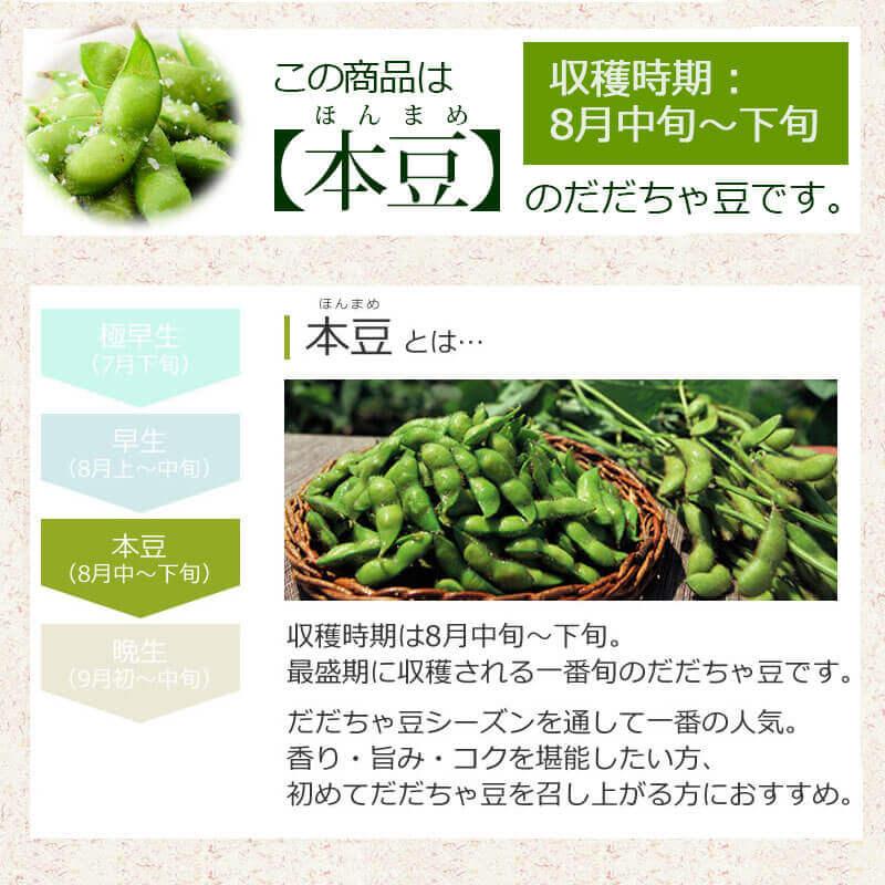 こちらは【早生】もしくは【本豆】のだだちゃ豆です