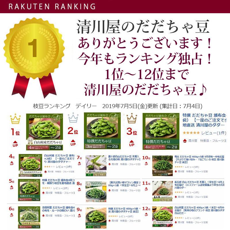 7月5日のデイリーランキング、清川屋のだだちゃ豆が1位~12位まで独占です!