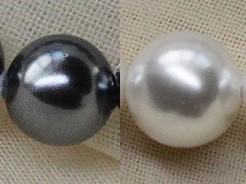 淡水パール級 貝パール ロングネックレスセット イヤリングorピアス 6mm真珠 ホワイトorブラック パーティードレス_ホワイトパールアップ