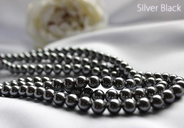 淡水パール セミロングネックレスセット イヤリングorピアス 6mm真珠 ホワイトorブラック ホワイトデーに!_ブラックパール