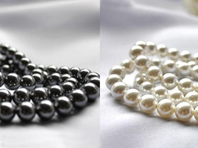 淡水パール級 貝パール ロングネックレスセット イヤリングorピアス 6mm真珠 ホワイトorブラック パーティードレス_ブラックorホワイト