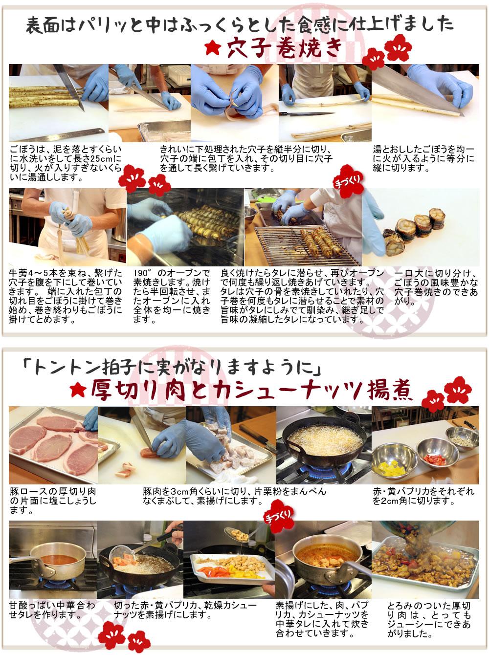 いやさか*メニュー作り方穴子巻、厚切り肉揚煮