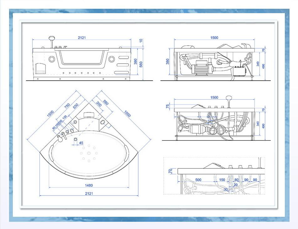 ジェットバス、浴槽、バスタブ、リラックス、疲れを取る、シャワーヘッド、ジェットバス設置、ショールーム、家庭用ジェットバス 水マッサージ 図 表 サイズ バスタブのサイズ 組み立て用