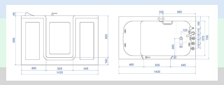 介護用浴槽、介護用バスタブ、介護用お風呂、組立、図、図面、サイズ、資料、寸法