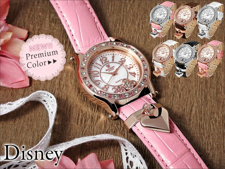 ディズニー 腕時計 レディース Disney ミッキーハートチャーム 腕時計 キッズ 女性 本牛革ベルト スワロフスキー
