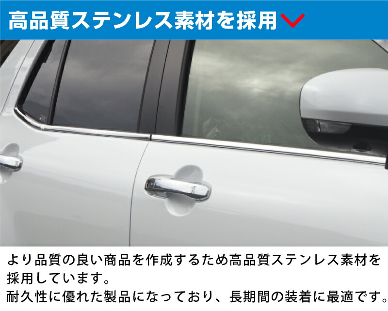 トヨタ ライズ ダイハツ ロッキー ウィンドウトリム 鏡面仕上げ ステンレス製 6P