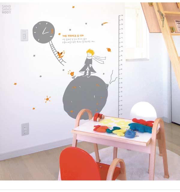 ウォールステッカー 北欧 身長計 トイレ 誕生日 子供部屋 動物 キャラクター 星の王子の背比べ