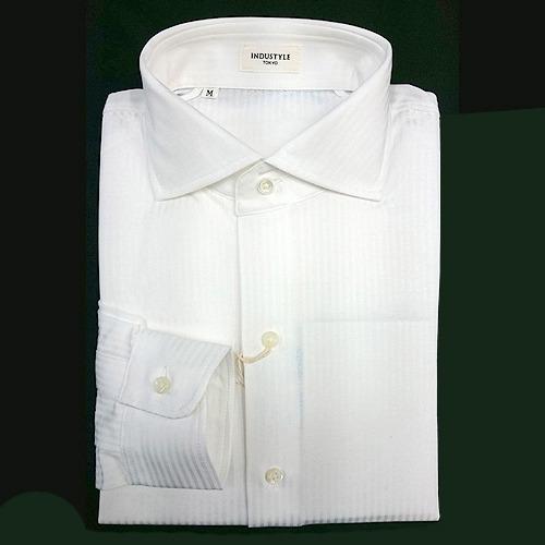 INDUSTYLE TOKYO ロンドンストライプ 長袖ワイドカラーシャツ