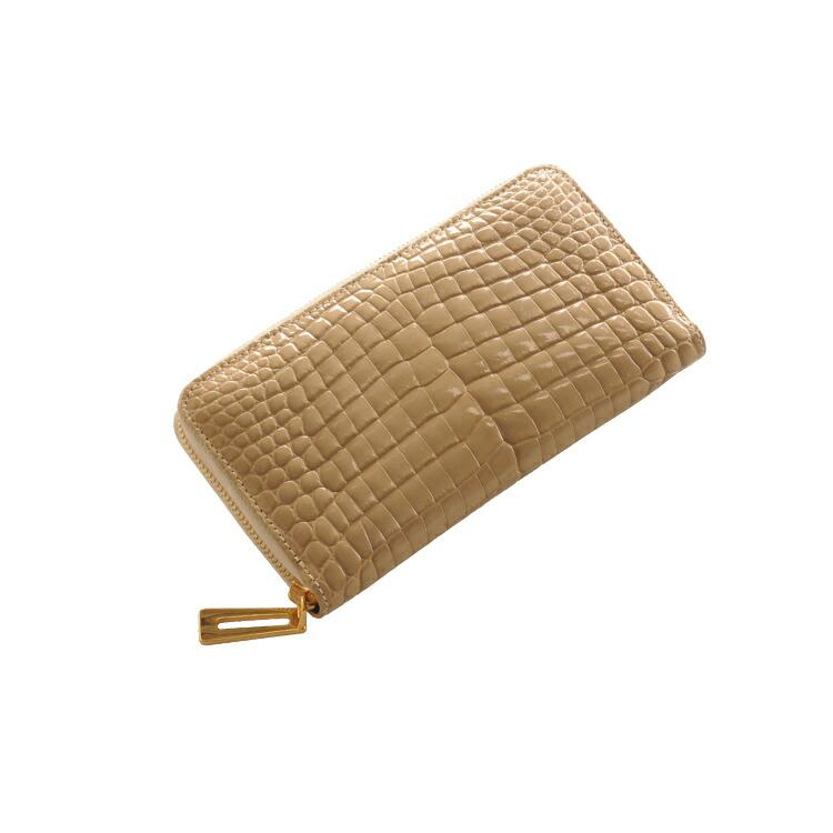 レディース クロコダイル ラウンド ファスナー 長財布 シャイニング加工 真鍮