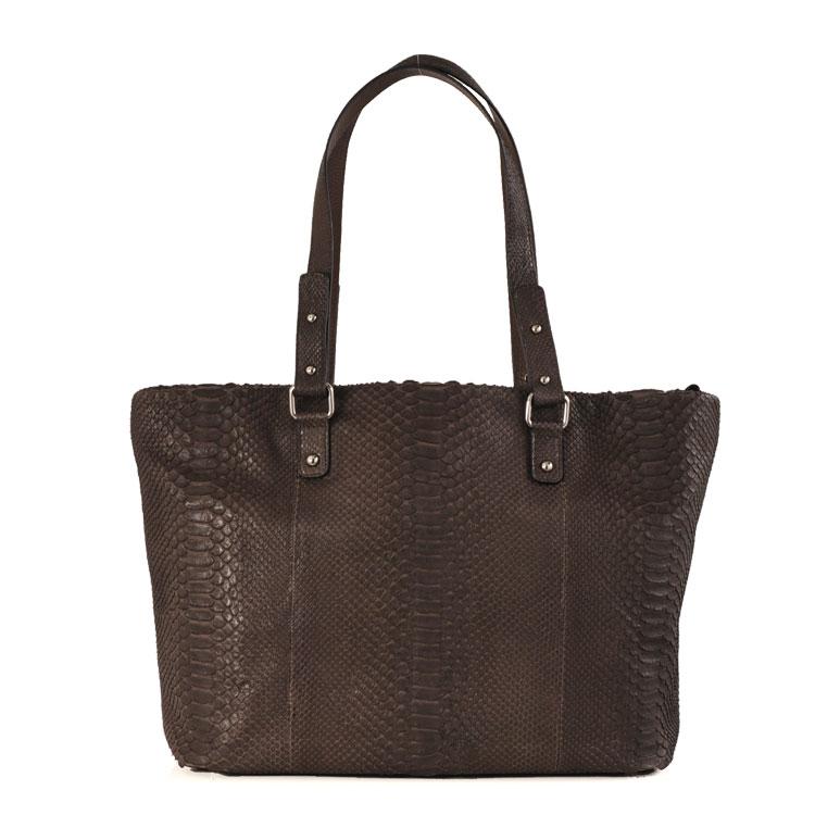 4f39595e415b 満点のダイヤモンドパイソン トートバッグ A4対応 ブラウン 茶色品質保証