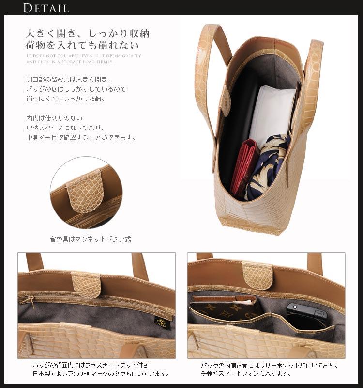 クロコダイル ハンドバッグ シャイニング加工