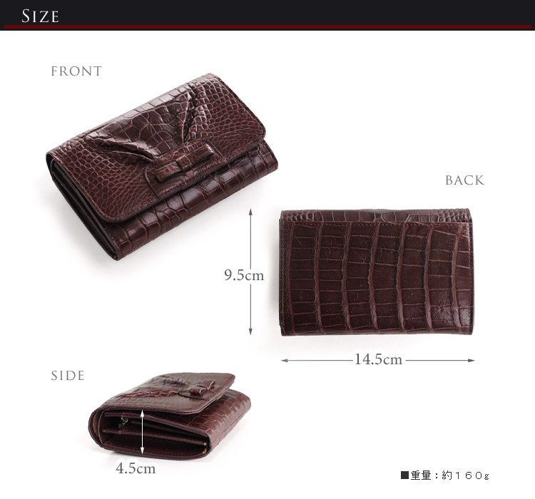 アリゲーター 折り財布 マット加工 リボン デザイン / レディース (No.06000222)