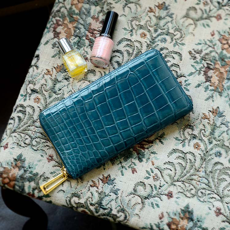 レディース クロコダイル 財布 シャイニング加工 ラウンドファスナー