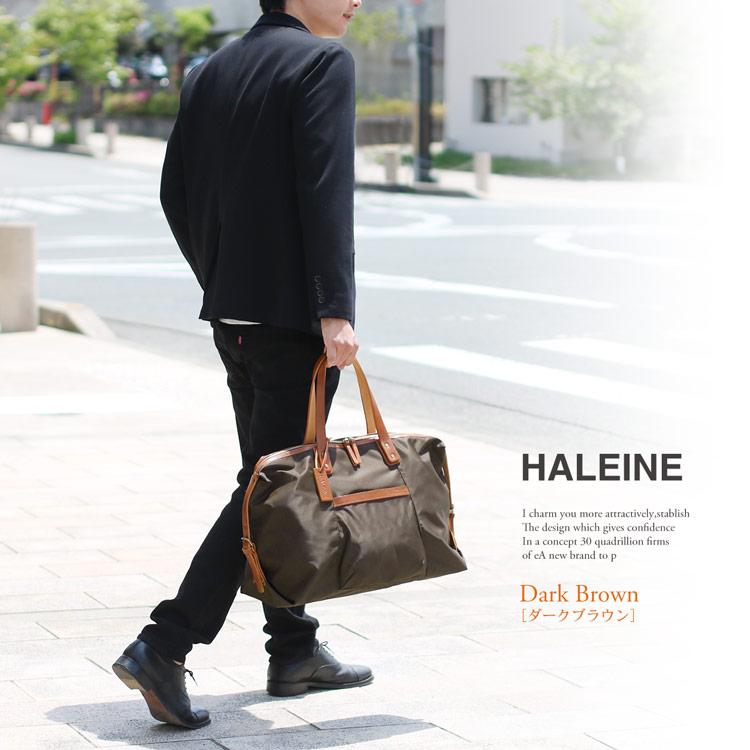 [HALEINE]牛革 栃木レザー & ナイロン ボストン バッグ
