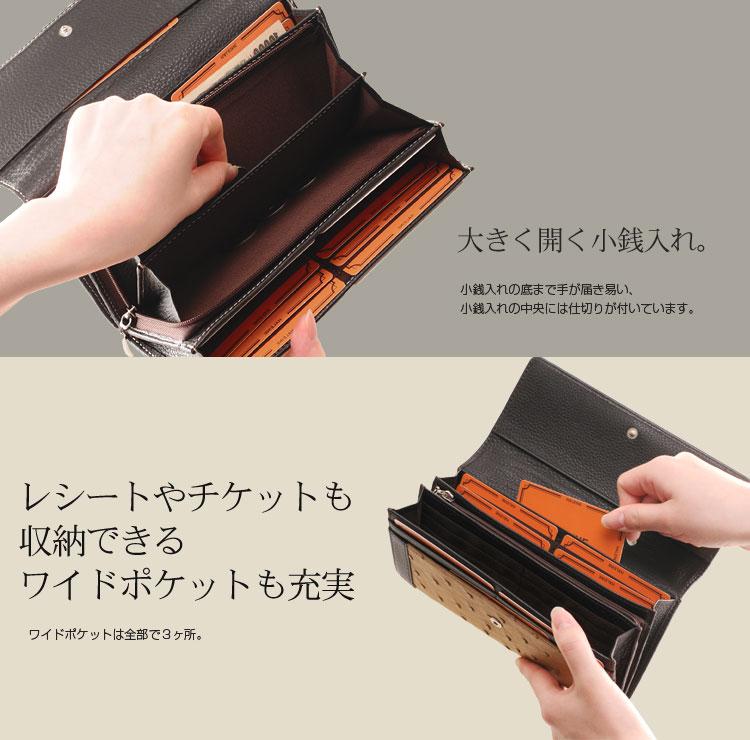 大きく開く小銭入れ付きの財布
