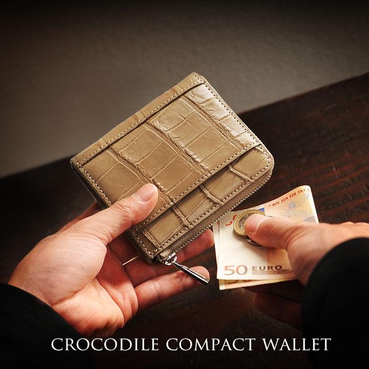 クロコダイル コンパクト財布 メンズ ミンク ミニ財布 本革