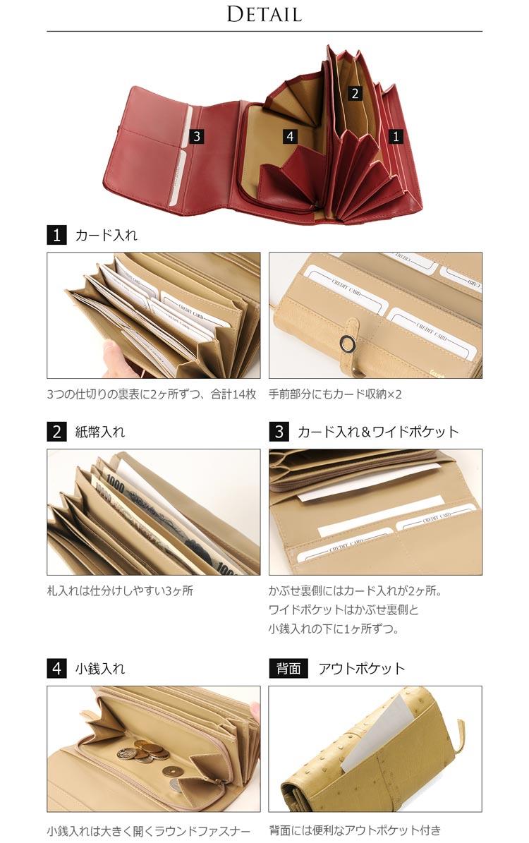 オーストリッチ財布の多機能なディテール