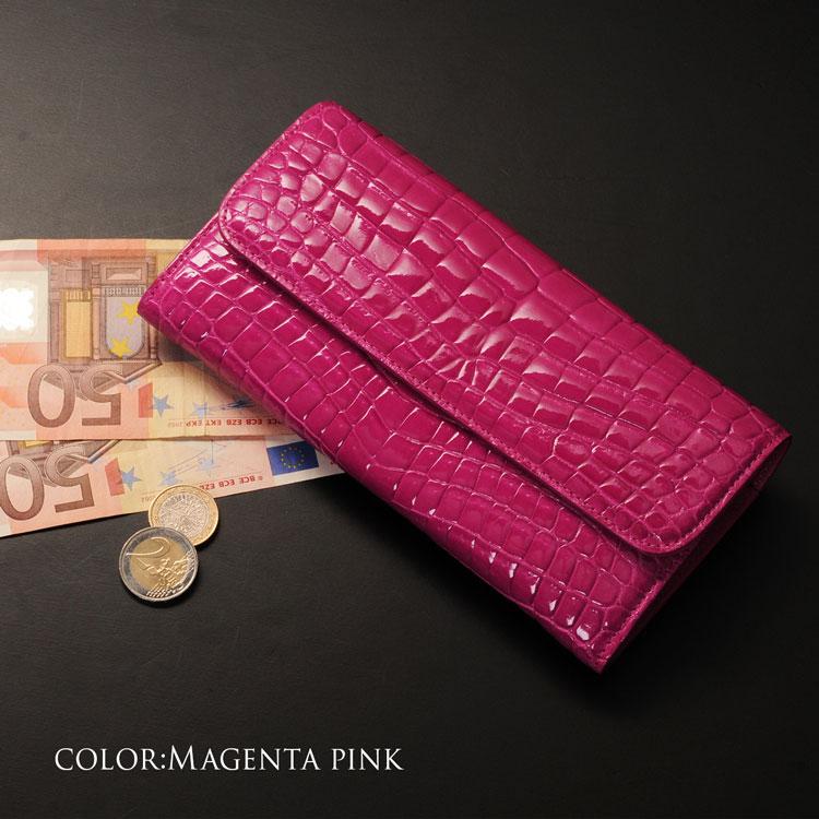 ナイル クロコダイル 長財布 シャイニング かぶせ デザイン