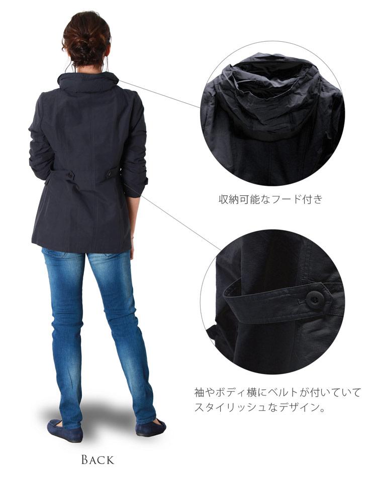 花粉 ガード ミドル丈コート レディース スプリングコート ブラック