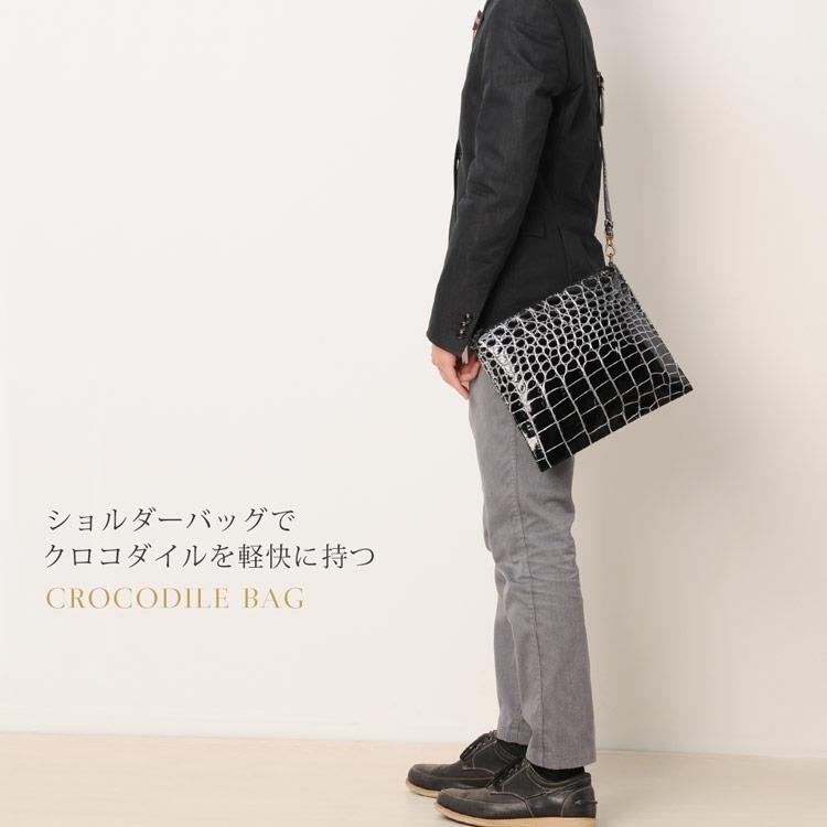 クロコダイル バッグ 目地染め 2way ショルダーバッグ 日本製 メンズ