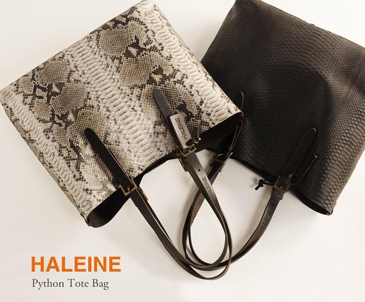 HALEINE[アレンヌ] ダイヤモンド パイソン トート バッグ 本革 A4 メンズ カジュアルバッグ