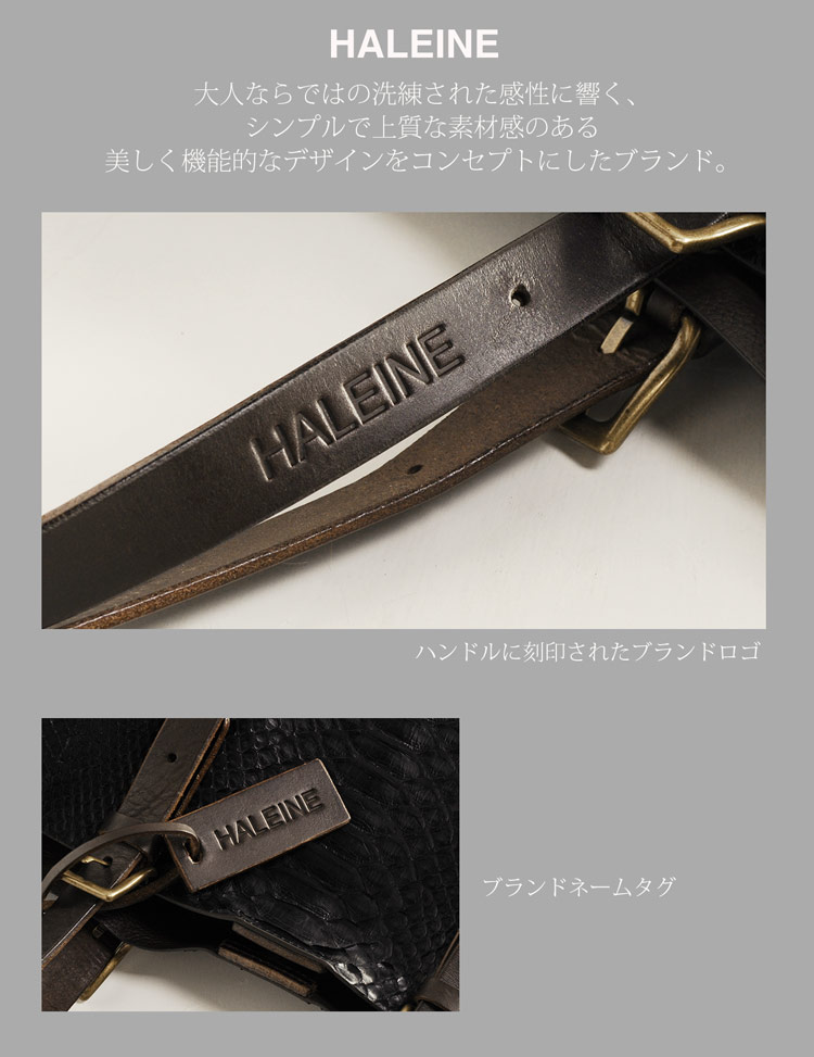 HALEINE[アレンヌ] ダイヤモンド パイソン トート バッグ 本革 A4 メンズ ブランド