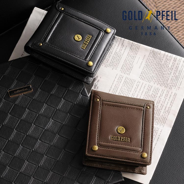 5dd6826cd5e9 GOLD PFEIL バッファローレザー 二つ折り財布 ビジネスバッグ 小銭入れ ...