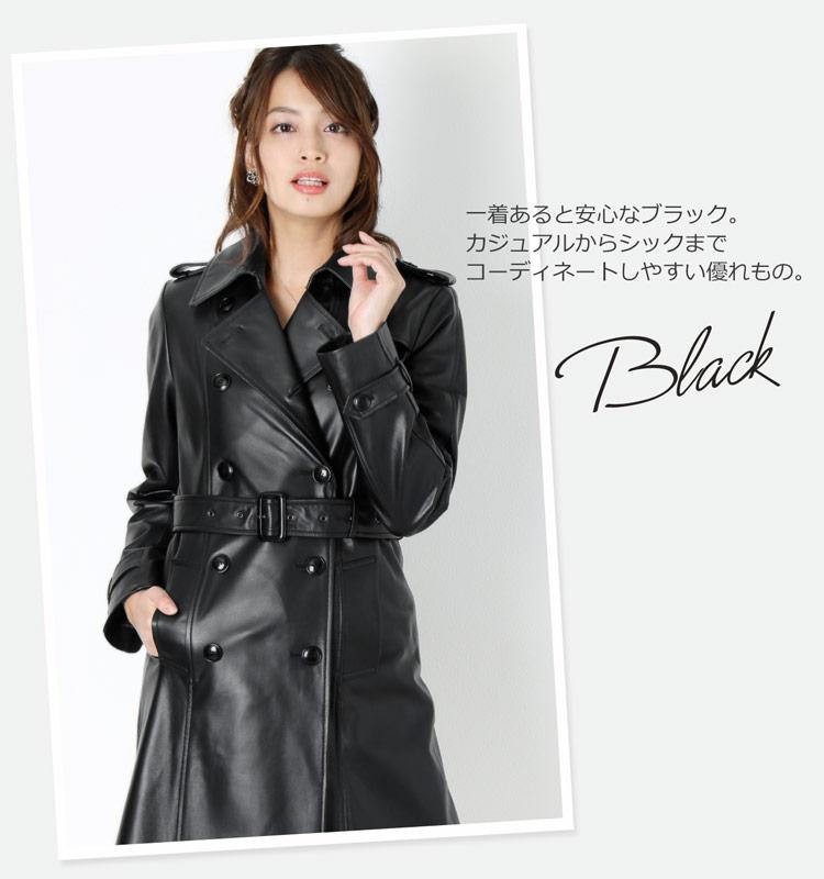 レザー トレンチ コート ブラック 黒