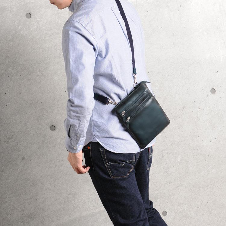 BLAZER CLUB サコッシュ 日本製 牛革 本革 ショルダー バッグ ブラック/ブラウン