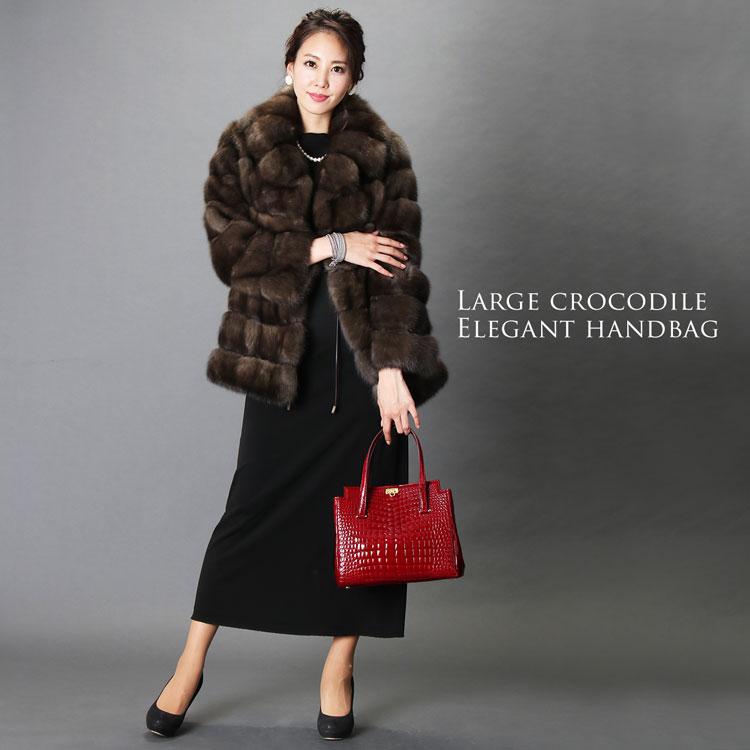 日本製 クロコダイル シャイニング ハンドバッグ