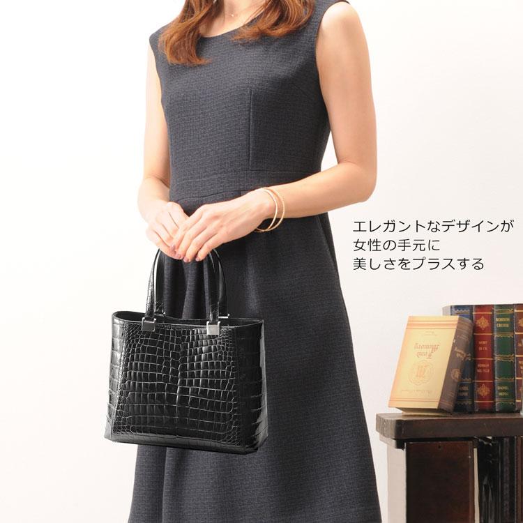 日本製 クロコダイル フォーマル ハンドバッグ