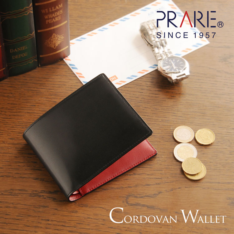 PRAIRIE/プレリー コードバン 二つ折り財布 ブラック