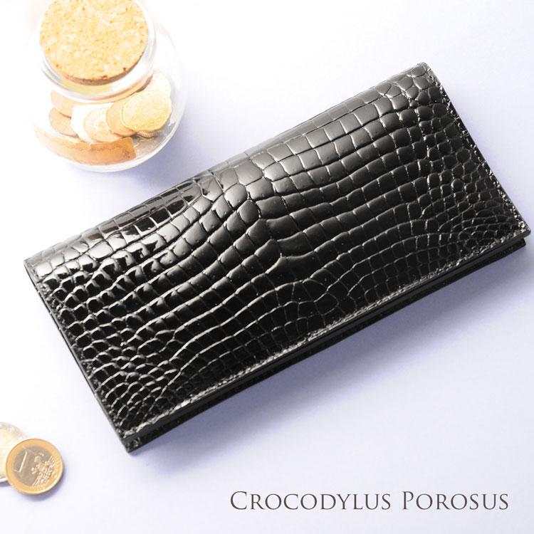 スモールクロコダイル ポロサス レディース 長財布 シャイニング 一枚革