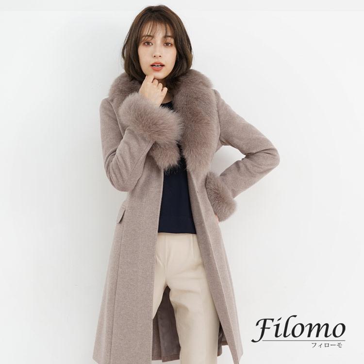 カシミヤ ブレンド ウール コート フォックス ファー トリミング Filomo